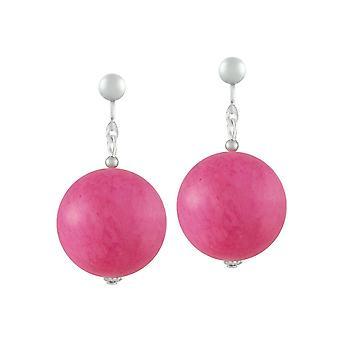 Collection éternelle Vanity Pink Mountain Jade Drop Clip sur boucles d'oreilles