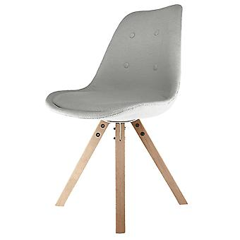 Fusion Living Eiffel Inspiré Light Grey Fabric Dining Chair with Square Pyramid Light Wood Legs Fusion Living Eiffel Inspiré Light Grey Fabric Dining Chaire avec Square Pyramid Light Wood Legs