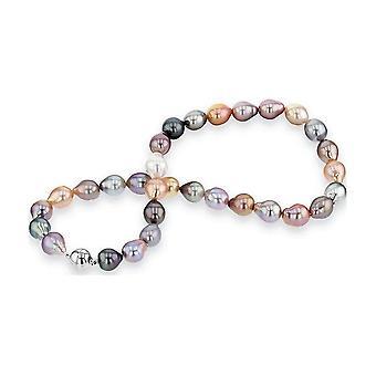 Luna-Pearls Pearl Collier Zoetwater- Tahiti- Zuidzee 9-10mm zilver rhod. 2035941
