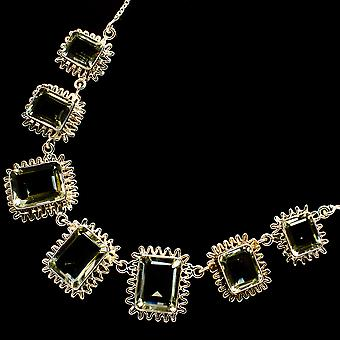 "Faceted Green Amethyst Necklace 17 To 18 1/2""  - Handmade Boho Vintage Jewelry NEC12066"