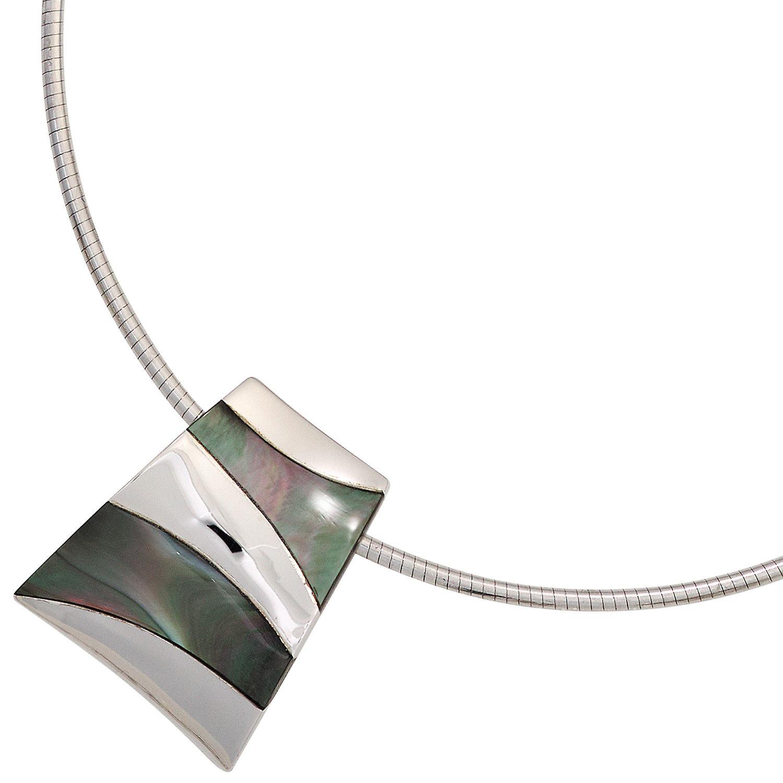 Damen Anhänger 925 Sterling Silber rhodiniert mit Perlmutt-Einlagen