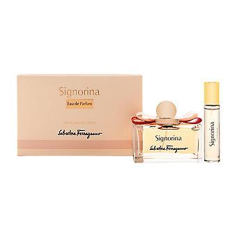 Signorina av salvatore ferragamo för kvinnor 2 piede set innehåller: 3.4 oz eau de parfum spray + 0.34 oz eau de parfum spray