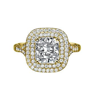 1.9 Carat F VS2 Diamond Engagement Ring 14K Yellow Gold Halo Micro Pave Double Halo