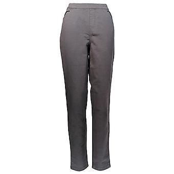 Denim & Co. Frauen's Hose bequem stricken Denim schlanke Bein pull Auf grau A271341
