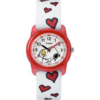 Tw2R41600, Timex Girls Tw2R41600 Time Machines X Peanuts: Bianco Woodstock & Snoopy / Hearts Fabric Strap Orologio