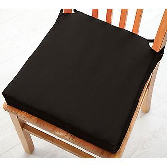 Black 2pk Seat Pad Cushions with Secure Fastening Dining Kitchen Chairs Soft Cotton Twill