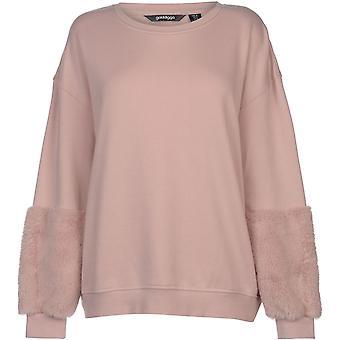 Golddigga Faux Fur Sleeve Sweater Ladies