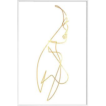 JUNIQE Print - Gold Femme I - People Poster in Goud en Wit