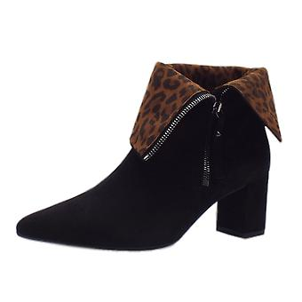Peter Kaiser Baka Fashion Collar Ankle Boot In Black Suede