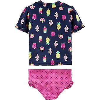 Simple Joys by Carter's Girls' Toddler 2-Piece Rashguard Set, Popsicals, 2T