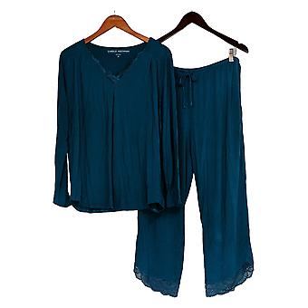Carole Hochman Women's Petite Lounge Set Silky Jersey W/Lace Trm Blue A368271