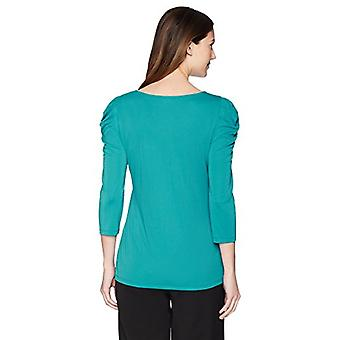 Lark & Ro Women's Basched Sleeve Top, Harbor Blue, Large