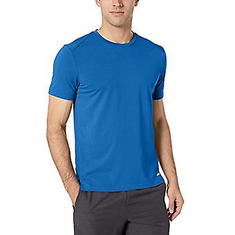 Essentials Men's Performance Cotton Short-Sleeve T-Shirt, True Blue, L...