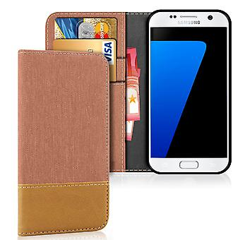 Mobile Shell Wallet for Samsung Galaxy S7 Mobile Protection Jeans Leatherette Mobile Shell