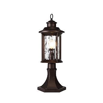 Luminosa Lighting - Lampa cokołowa, 1 x E27, Antyczny brąz, przezroczyste szkło ripple, IP54