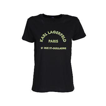 Karl Lagerfeld 205w1725blk Camiseta de Mujer's de Algodón Negro