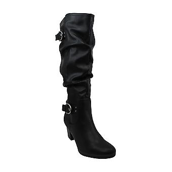 RIALTO Women's Farewell Size Knee High Boot, Black/Smooth, 7.5 M