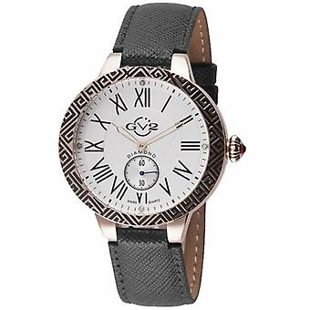 GV2-tekijä Gevril Women's 9125 Astor Enamel Diamonds Rose-Gold IP Leather Watch