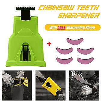 Teeth Saw Chain Sharpener, Bar-mounted Electric Power, Woodworking Parts With 5