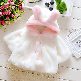 Winter Baby Girl Outerwear Cloak Jacket Newborn Cute Rabbit Ears Fur Warm Coat