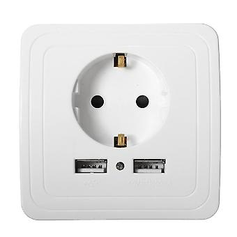 Dual Usb Port 2400ma Wall Charger Adapter 16a Eu Standard Electrical Plug Socket Power Outlet Panel
