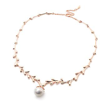 LucyQ Freshwater White Pearl Drip Design Necklace in Rose Gold Plated Silver