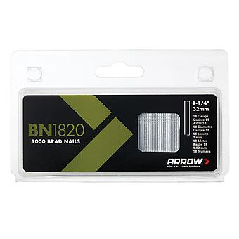 Arrow BN1820 Brad Nails 32mm 18g Pack 1000 ARRBN1820