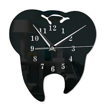 Mirror Effect Laser Cut Tooth Shape Wall Clock