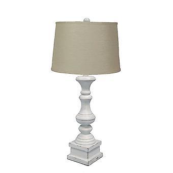 מנורת שולחן לבנה במצוקה עם גוון בד פשתן ים