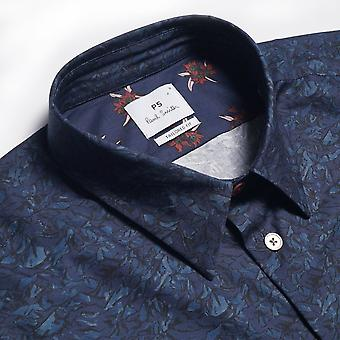 PS Paul Smith  - Mountain Peaks Print Shirt - Navy Blue