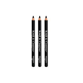 3 x Bourjois Paris Khol und Contour Eyeliner Extra-Long Wear - 001 Noir-issime
