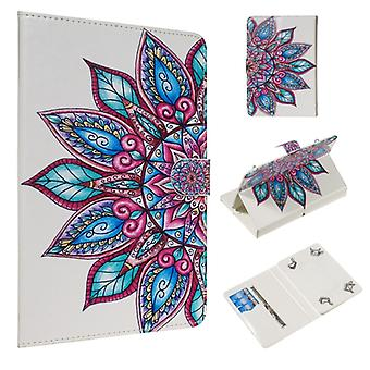 For 10 inch Universal Tablet PC Colored Drawing Pattern Horizontal Flip PU Leather Case with Holder & Card Slots(Half Flower)