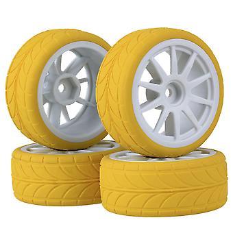 RC1:10 On Road Car White 10 Spoke Wheel Rim&Yellow Arrow Rubber Tyre Pack of 4