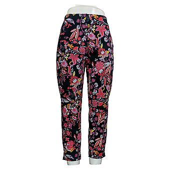 Kelly By Clinton Kelly Women's Pants Floral Printed Ponte Crop Blue A306671