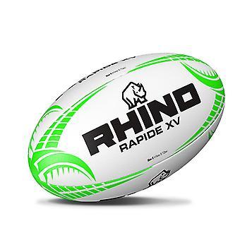 Rhino Rapide XV Rugby League Union School Club Training Ball White/Green