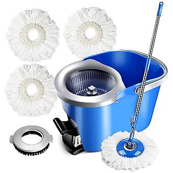 Mop and Bucket Sets with 3 Microfiber Mop Head & 1 Floor Brush 8L Food Pedal Spin Mop Bucket