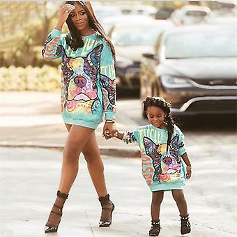 Anya lánya családi megfelelő ruhák, nők gyerekek rajzfilm kutya aranyos ruha