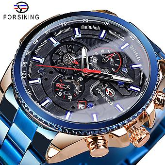 Three Dial Calendar, Stainless Steel, Men Mechanical Automatic Wrist Watches