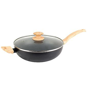 Progresul Scandi Wok Non Stick mâner din lemn bucătărie de gătit Pan