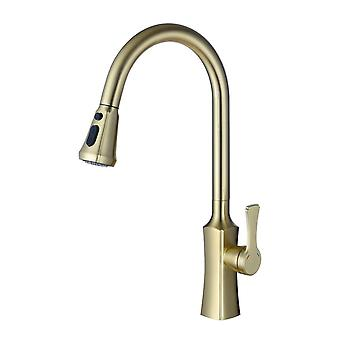 Two Way Pull Out Down Kitchen Sink Faucet In Brass
