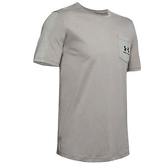 תחת שריון Mens ספורטטייל שמאלי לוגו חזה כותנה חולצת טריקו טי ירוק