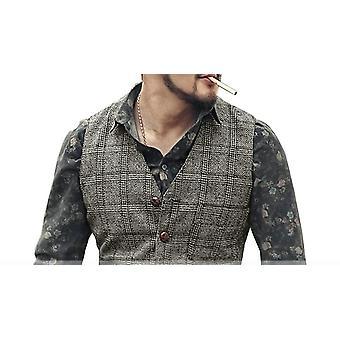 Silver New Plaid Suit Vest