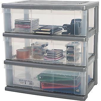 Wokex, Werkzeugwagen / Schubladenschrank auf Rollen - Wide Chest WC-N603 - plastik, silber, 3 x 34
