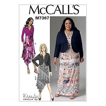 McCalls ompelu kuvio 7367 Misses Shrug & Pullover Mekko Koko 8-16
