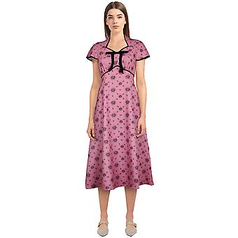 Chic Star Tie Retro Dress In Pink/Floral