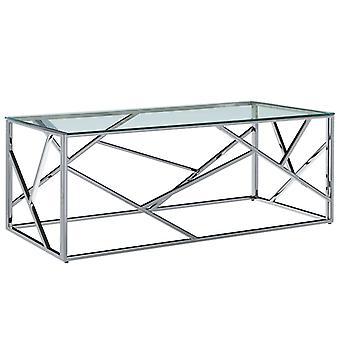 vidaXL Table basse transparent 120×60×40 cm verre trempé acier inoxydable
