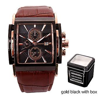 Large Dial Fashion Casual Sports Rose Gold Sub-dials Brown Leather Men Quartz