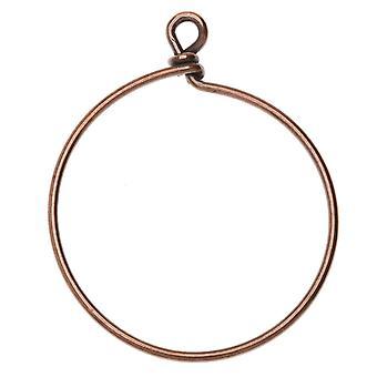 Perlenförmiger gewickelter Drahtreife, für Anhänger oder Ohrringe 42mm breit, 1 Stück, antik verkupfert, Von TierraCast