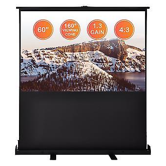 "60"" Diagonal 4:3 HD Pull Up Floor Projector Screen 48""x36"" 1.3 Gain Home Projection w/ Aluminum Case"