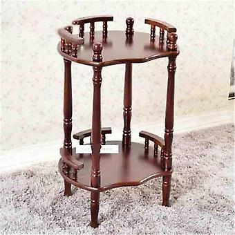 Portapacchi a doppio strato per scaffali laterali a scaffale, tavolino in legno massello
